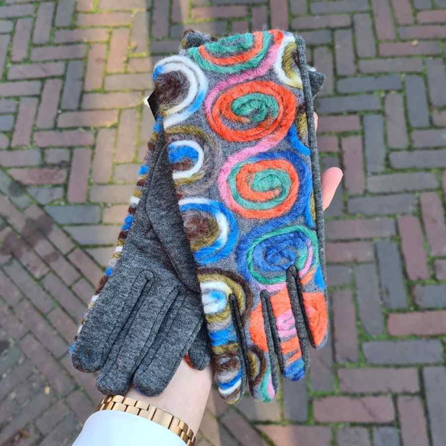Grijze handschoen cirkels multi kleur