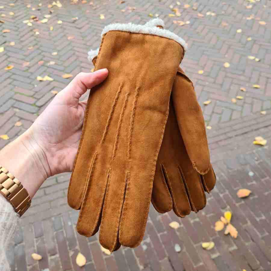 Handschoen dames cognac dikke voering