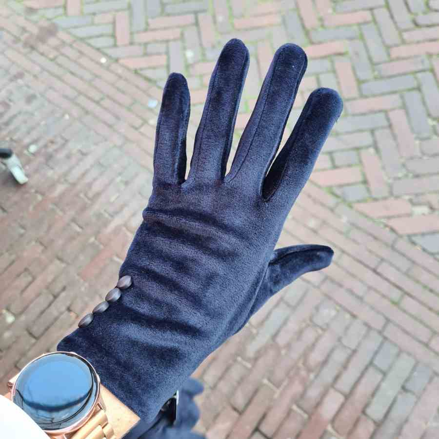 Handschoen donkerblauw zacht met dopjes