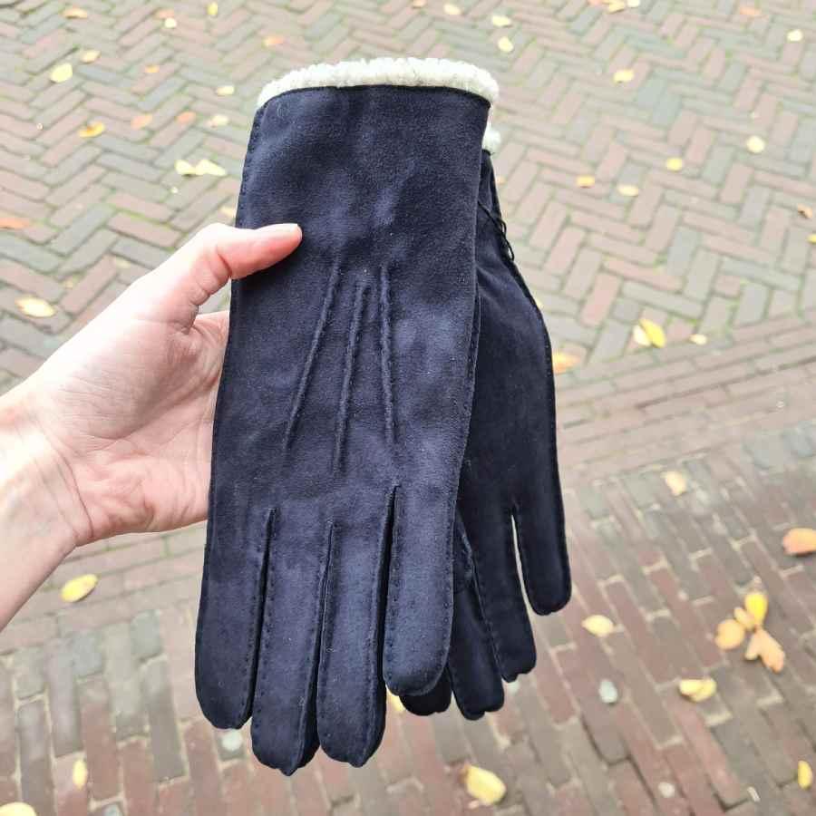 Handschoen zonder wol in donkerblauw