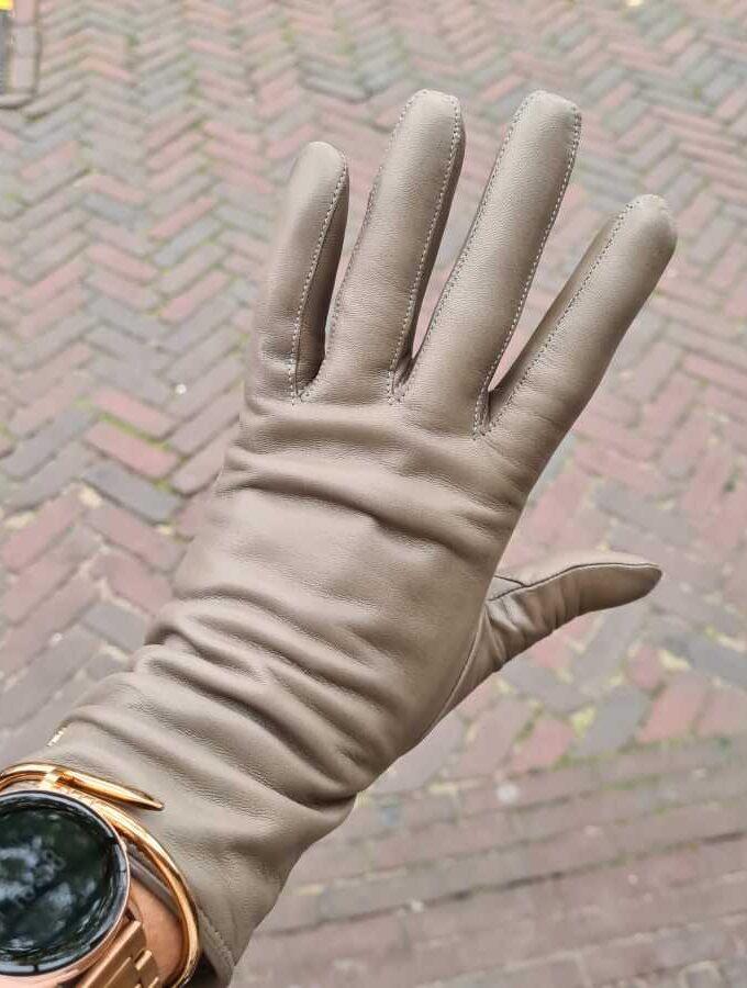 Handschoenen cashmere dames leer lang