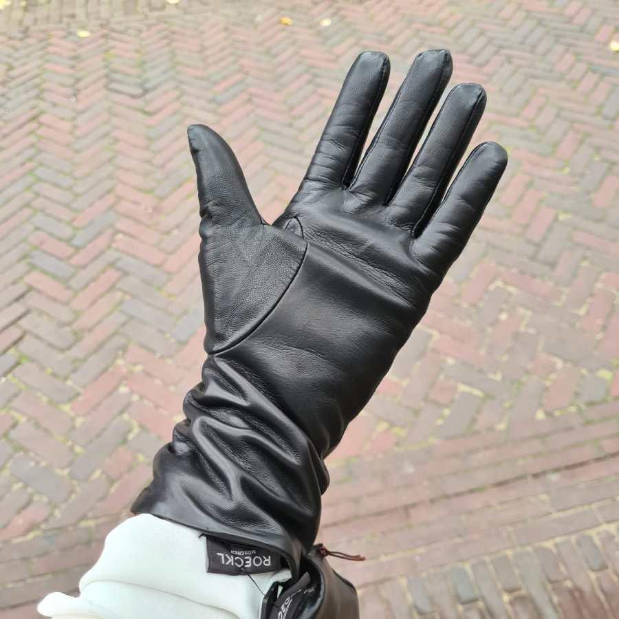 Handschoenen dames zwart leer cashmere voering