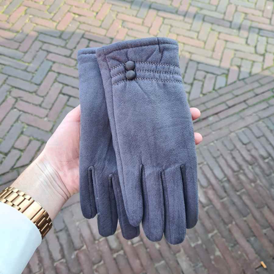 Handschoenen grijs dopjes zachte voering