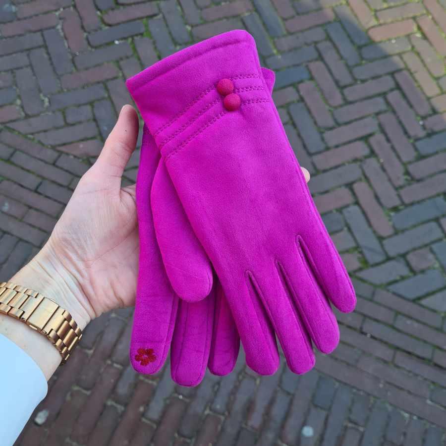 Handschoenen kunststof dopjes fuchsia roze