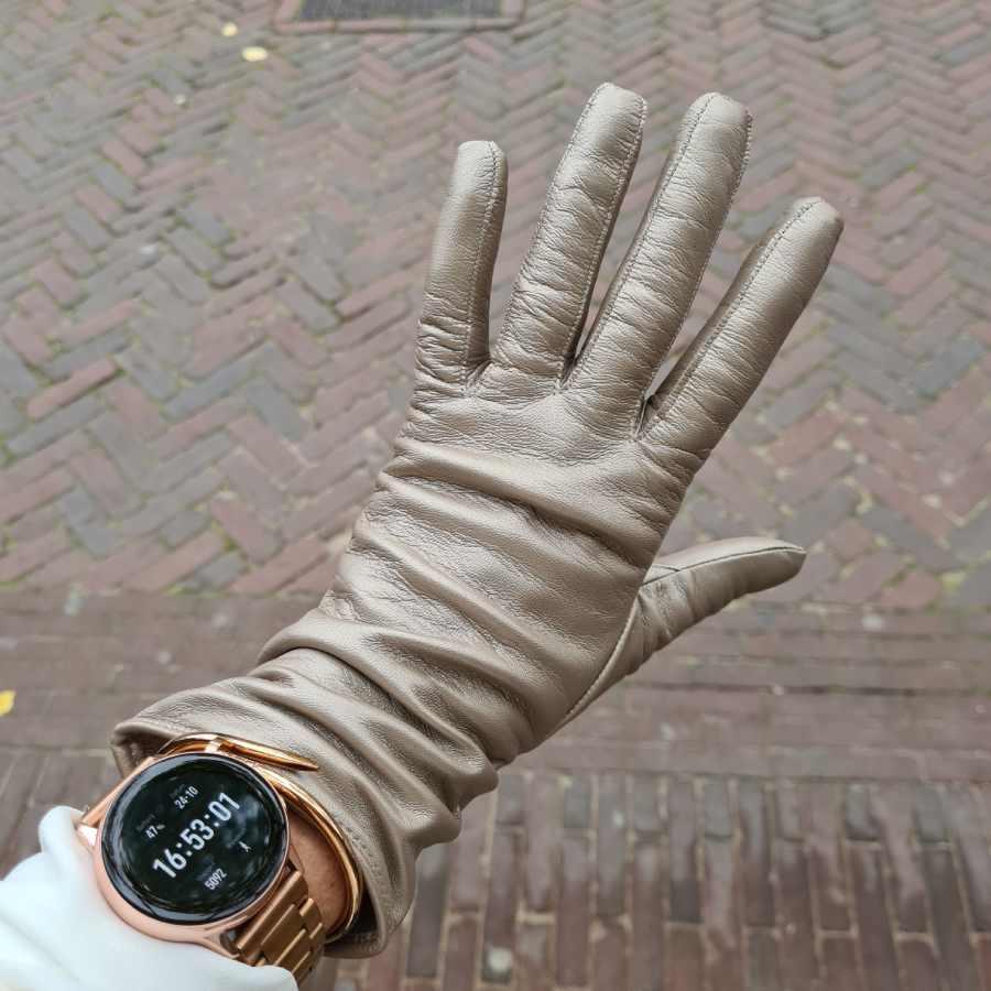 Handschoenen metallic zilver dames leer lang