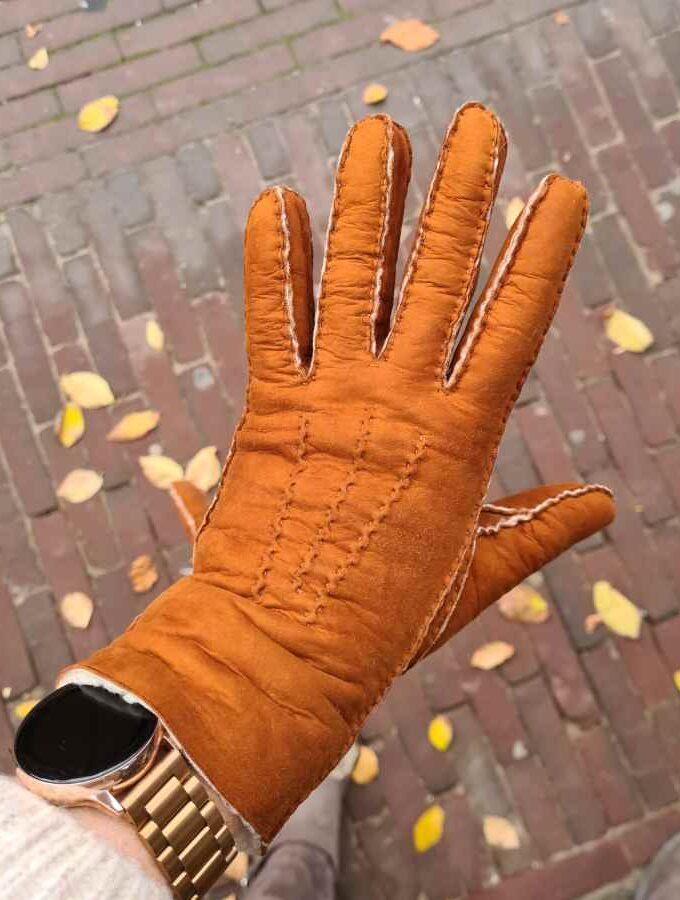 Lammies handschoenen cognac suède