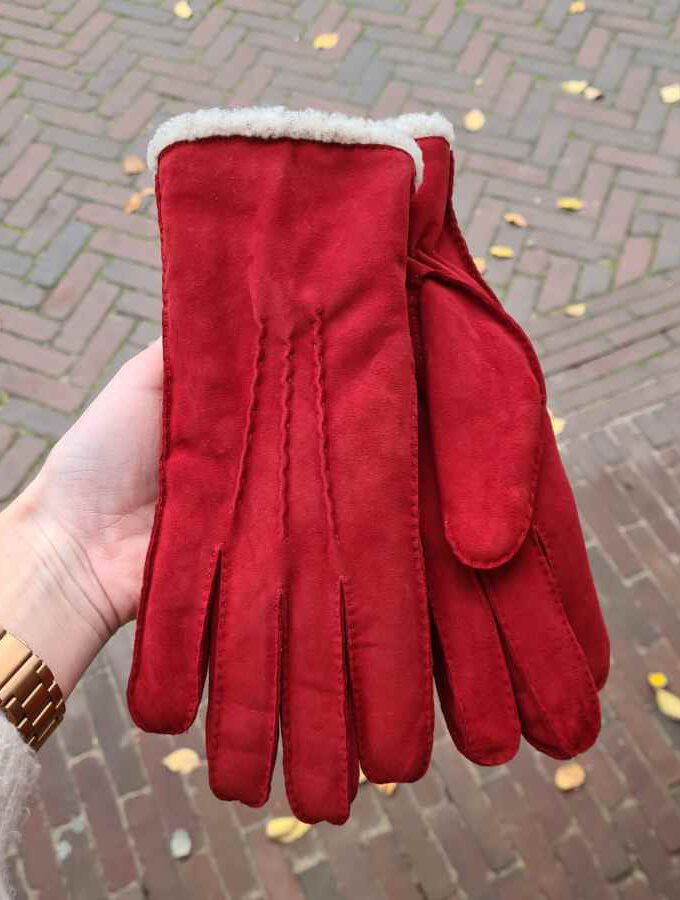 Lederen handschoen rood dikke voering zonder wol