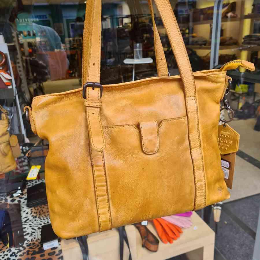 Leren shopper geel Beardesign