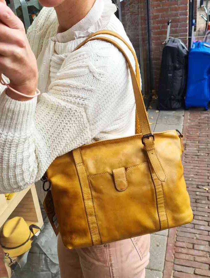 Leren shopper geel Beardesign