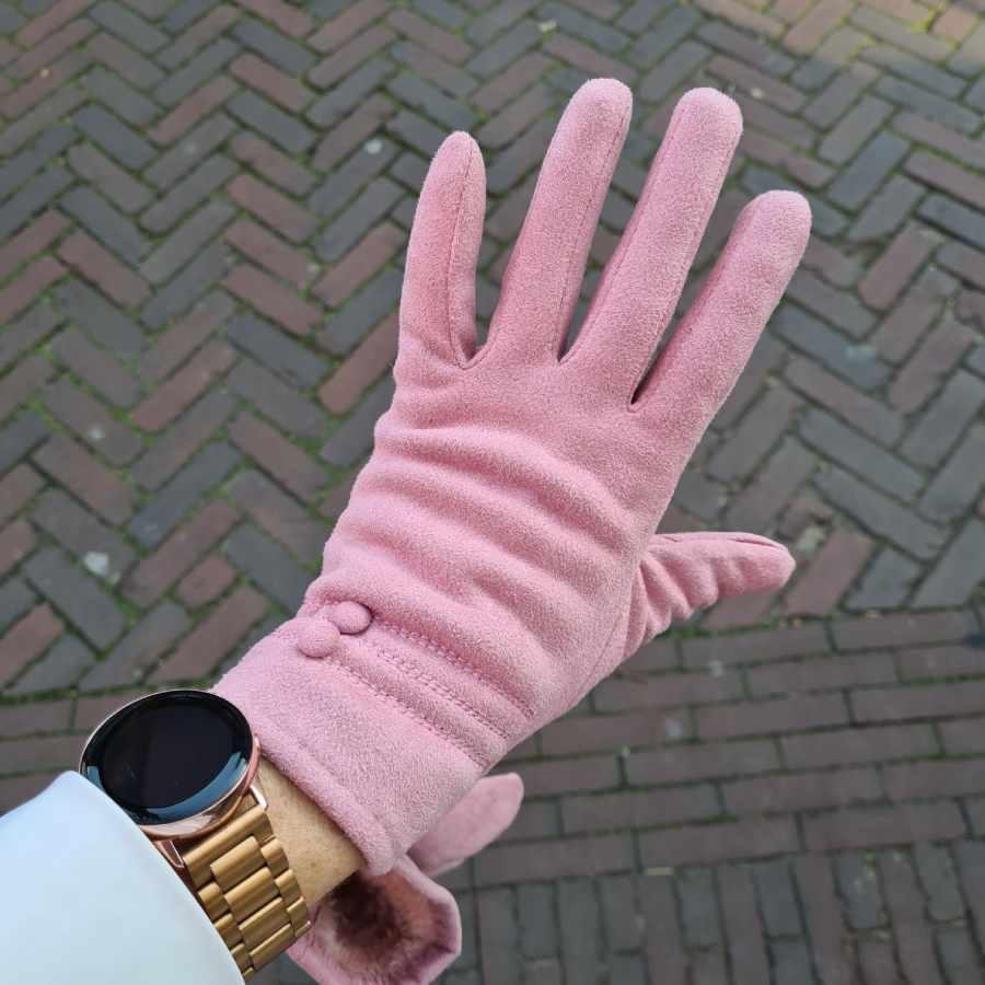 Roze handschoenen met dopjes zachte voering