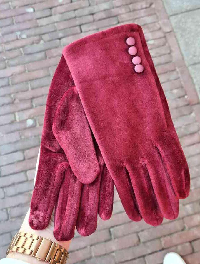 Satijnen handschoenen aubergine met dopjes