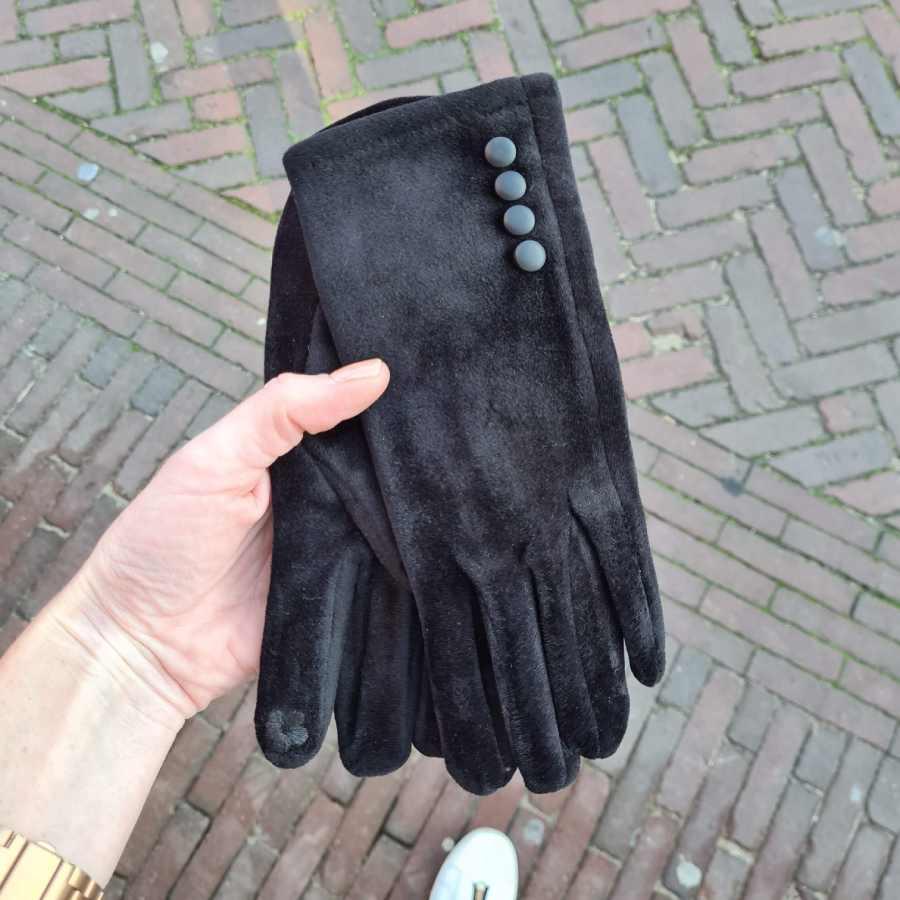 Satijnen handschoenen zwart dopjes