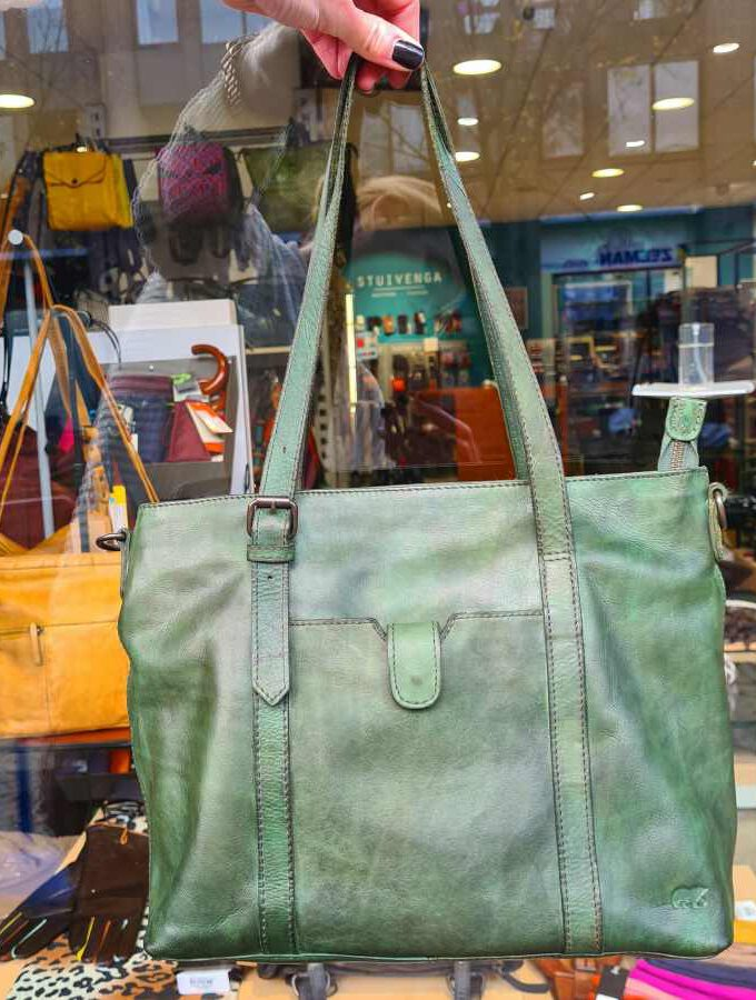 Shopper groen leer dames Beardesign
