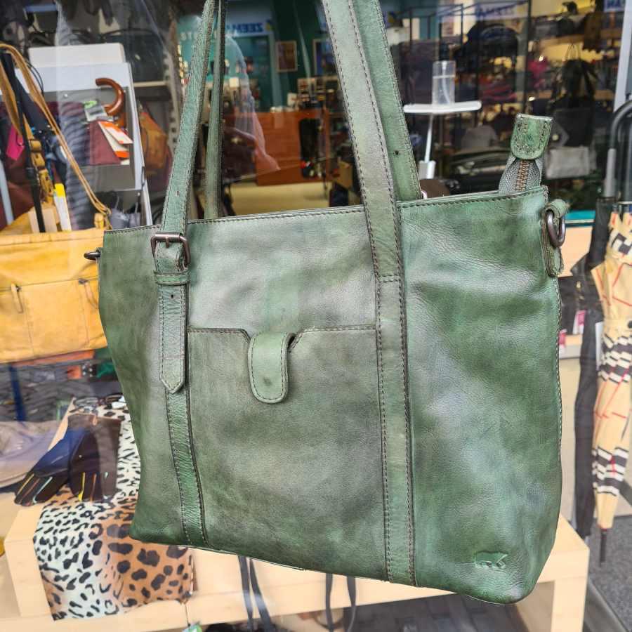 Shopper groen leer dames Beardesign