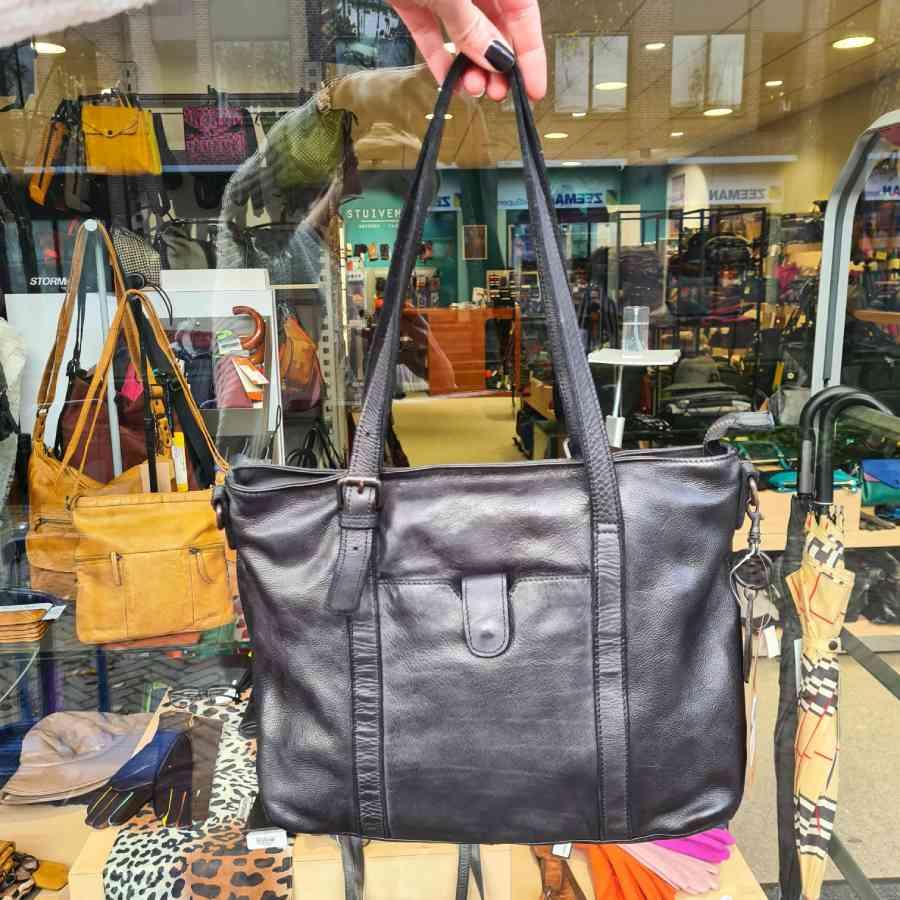 Shopper zwart met rits Beardesign