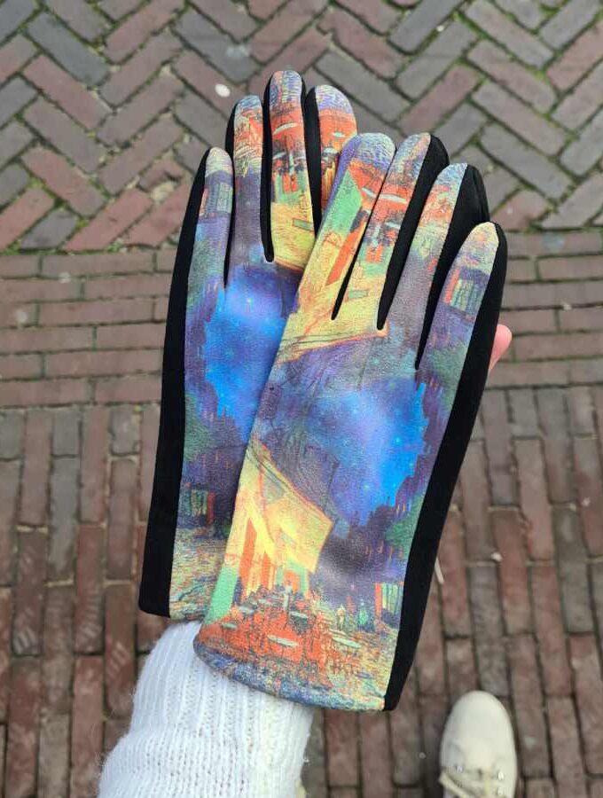 Van Gogh Cafe Terrace kunstwerk zachte handschoenen