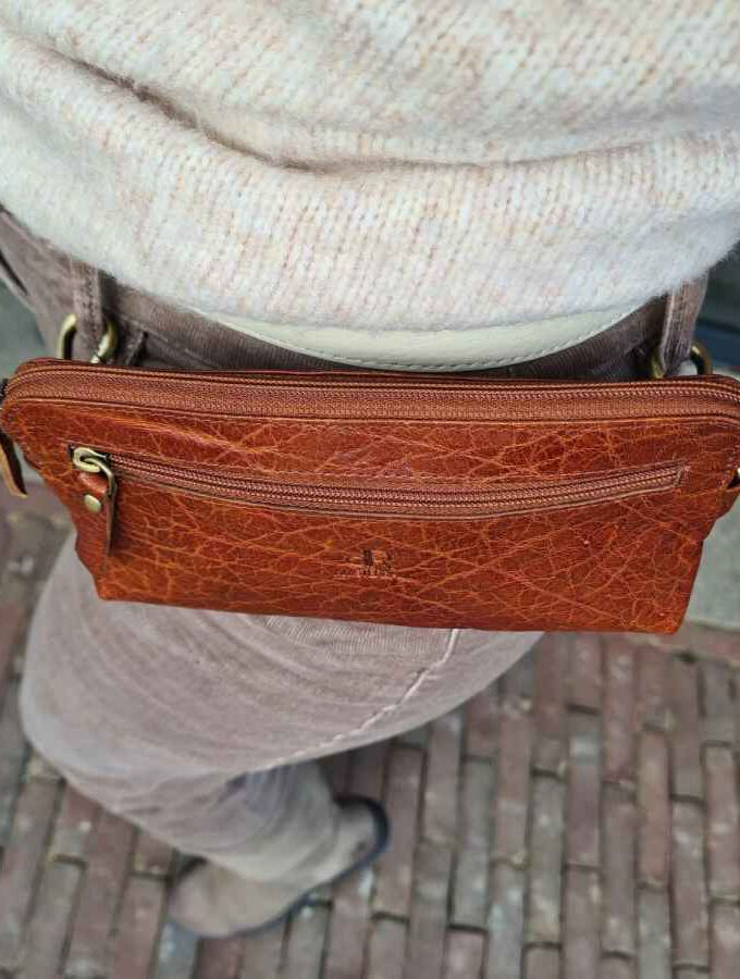 dR Amsterdam Loop Bag in cognac leer