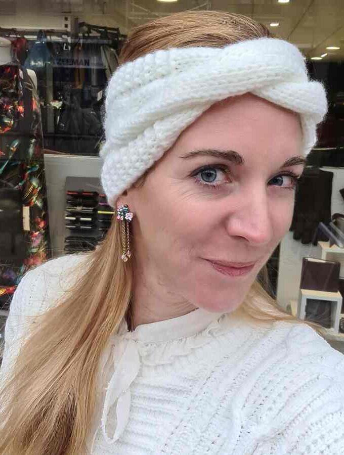 Hoofdband dames winter gevlochten wit