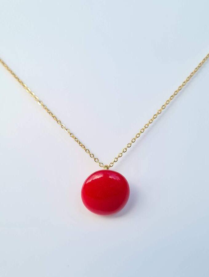 Ketting rood steentje goudkleur stainless steel