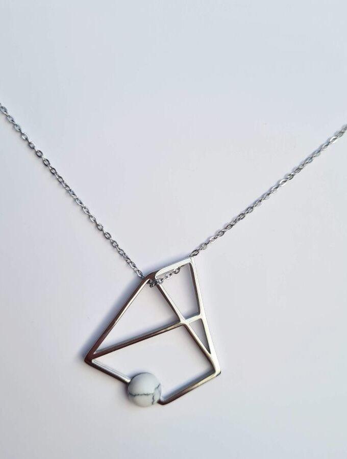Ketting zilveren hanger hoekig stainless steel