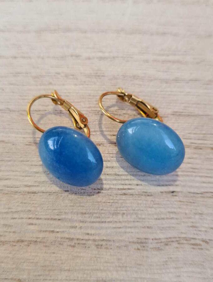 Oorbellen blauw steen stainless steel goud