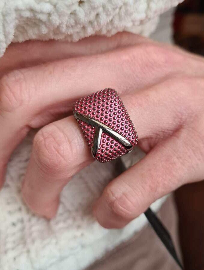 Ring elastiek dopjes paars roze