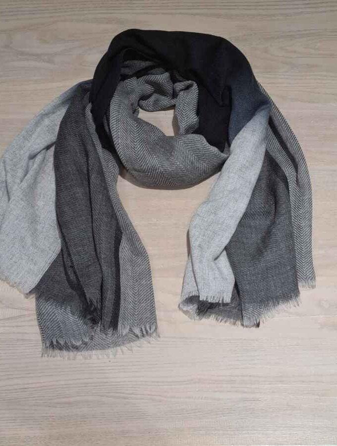 Sjaal mannen zwart met grijs wol en cashmere