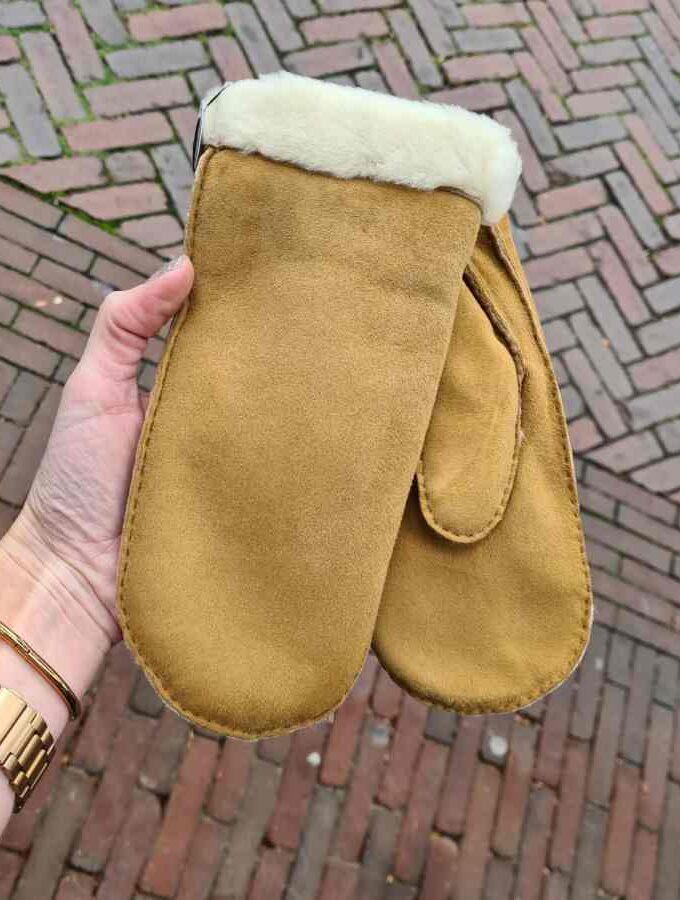 Wanten dames wol camel met rand warm