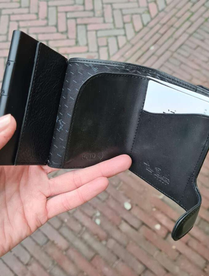 Zwarte portemonnee RFID Cardholder muntgeldvak