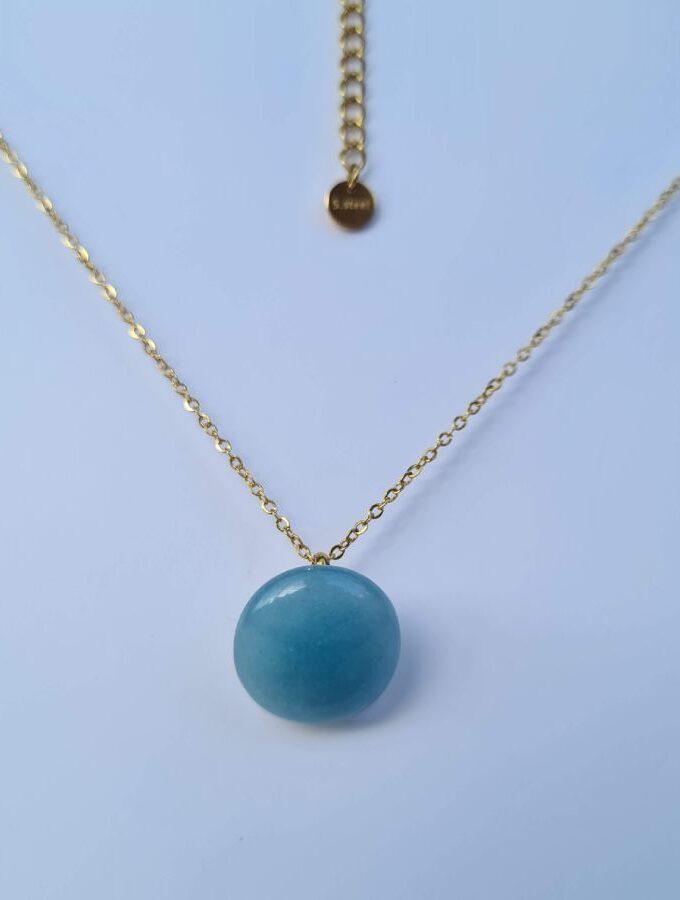 Ketting blauwe steen gouden ketting