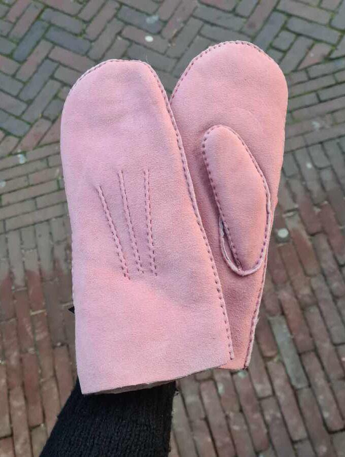 Wanten dames roze met lamswollen voering