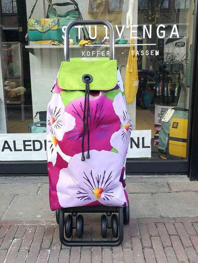 Rolser I-Max boodschappentrolley groene bloem
