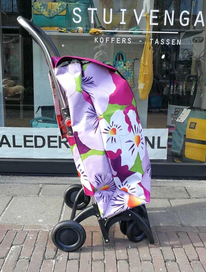 Rolser boodschappentrolley I-Max bloem roze