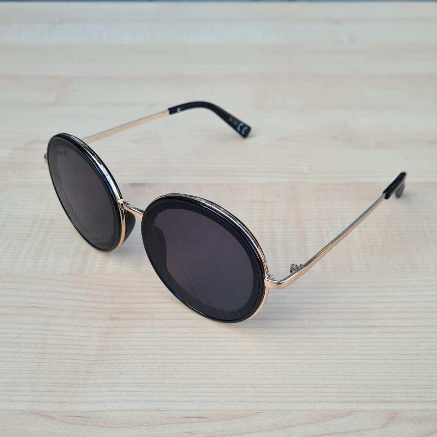 Zwarte ronde glazen zonnebril