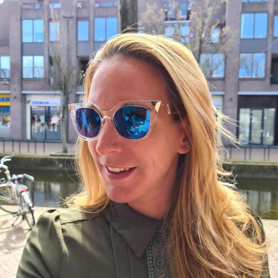Zonnebril blauwe hoekige glazen transparant