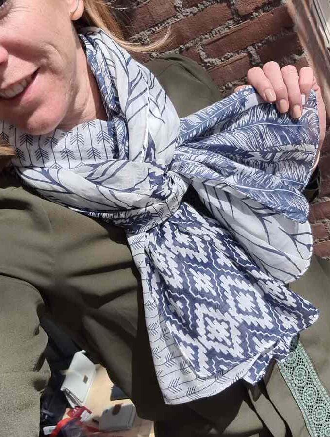 blauw sjaal katoen