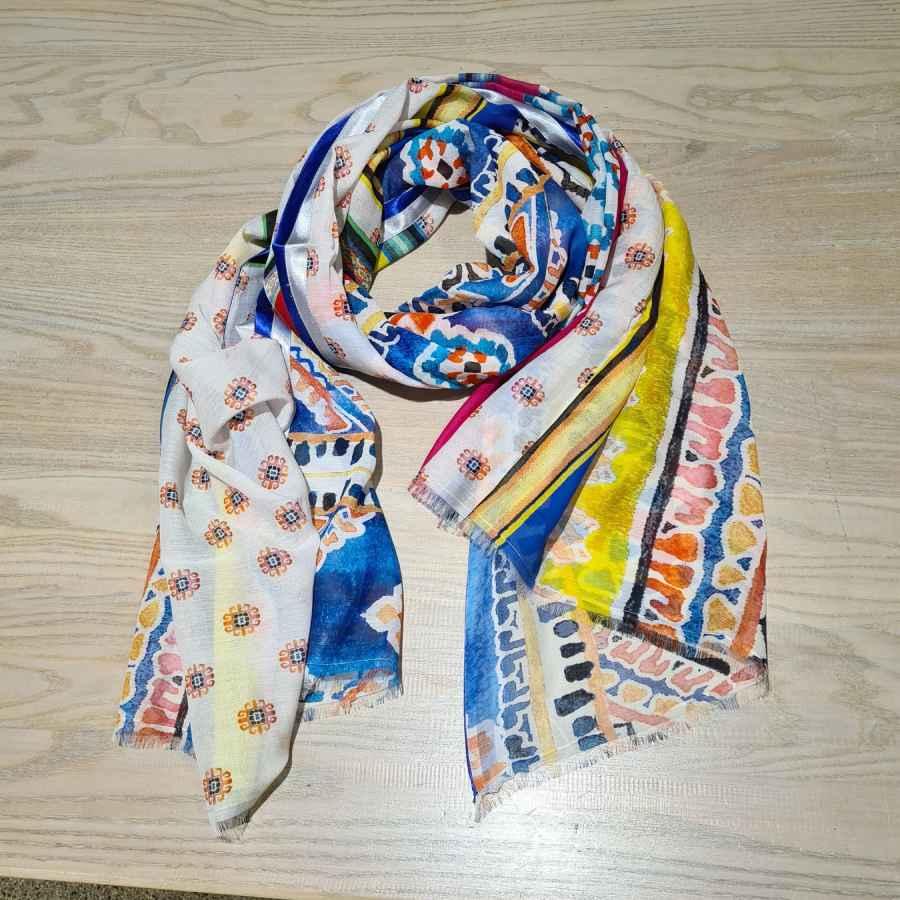 kleurrijke sjaal blauw geel