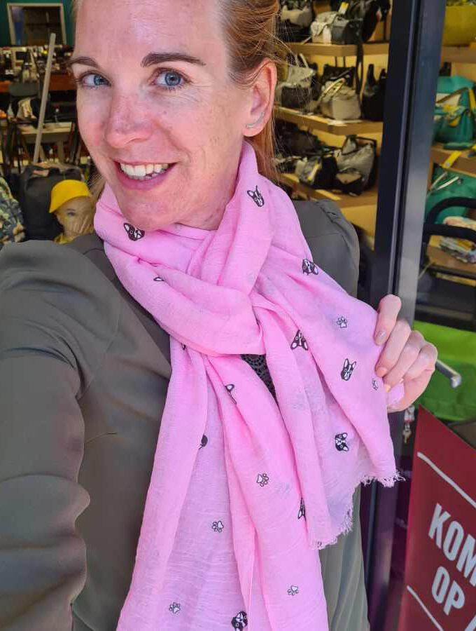 sjaal hondjes roze