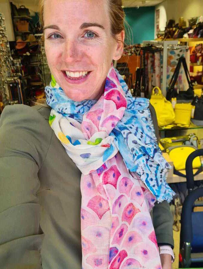 sjaal katoen blauw roze
