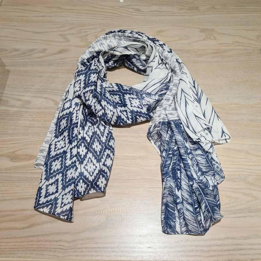 sjaal katoen wit blauw