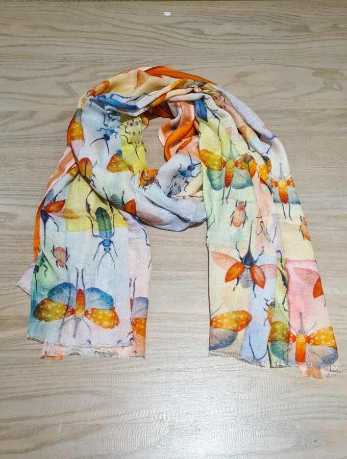 sjaal oranje vlinders insecten