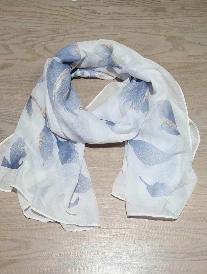 sjaal wit met blauw