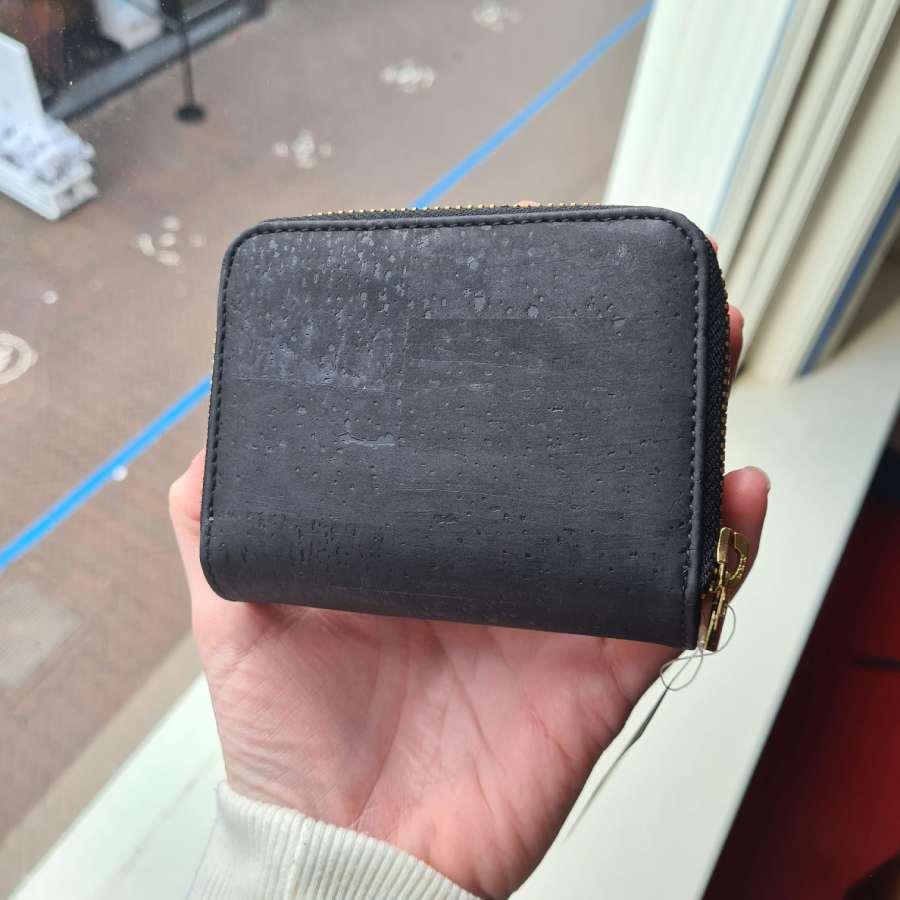 vegan kurk portemonnee zwart