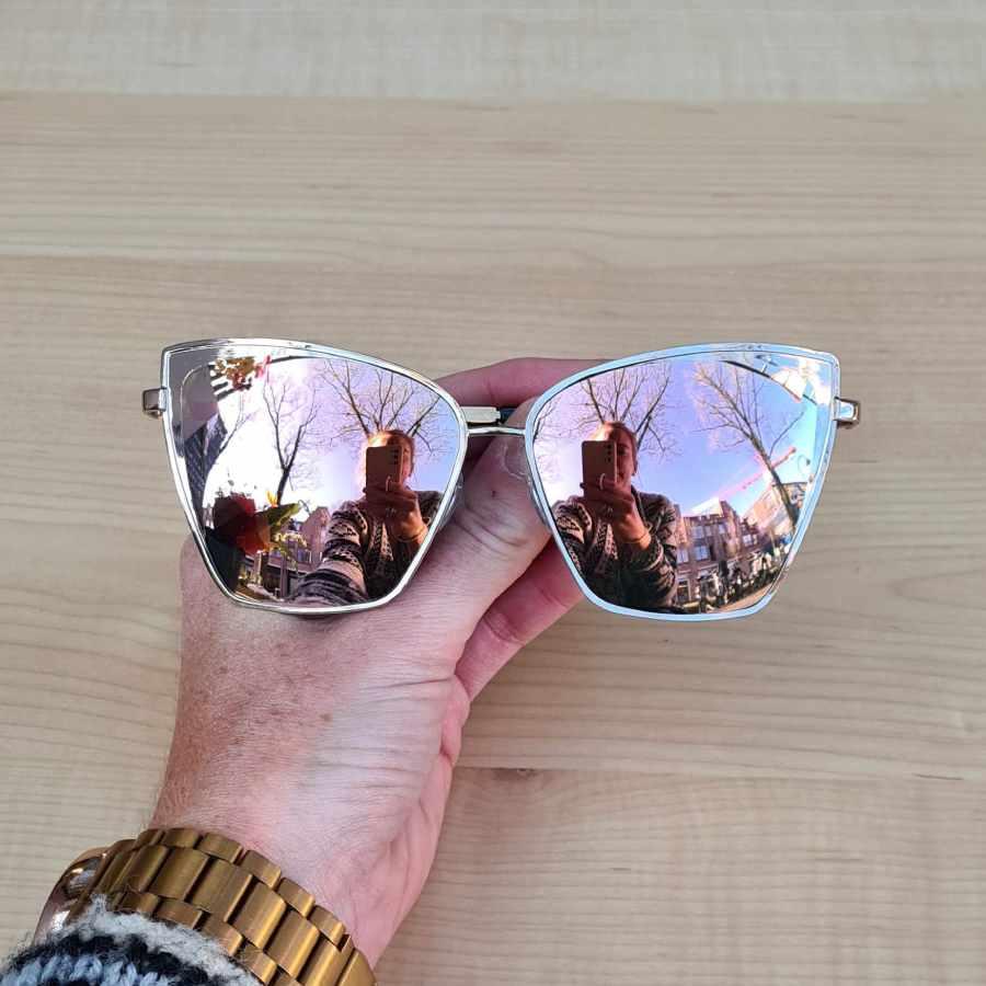 zonnebril rose roze spiegelglazen