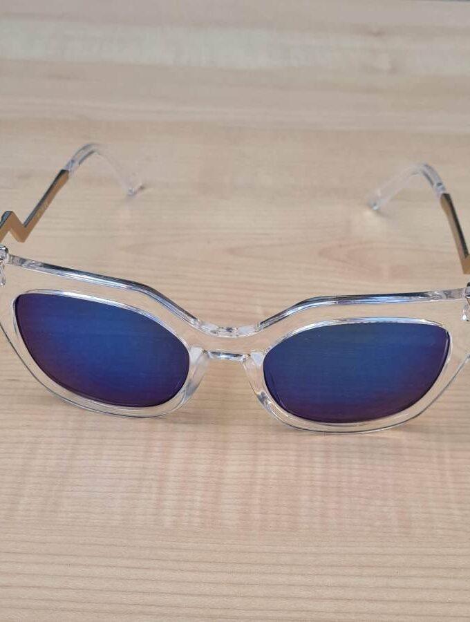zonnebril transparant blauwe glazen