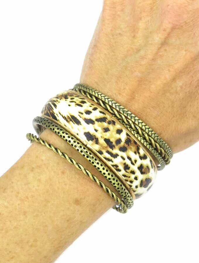 Armband los goud en dierenprint