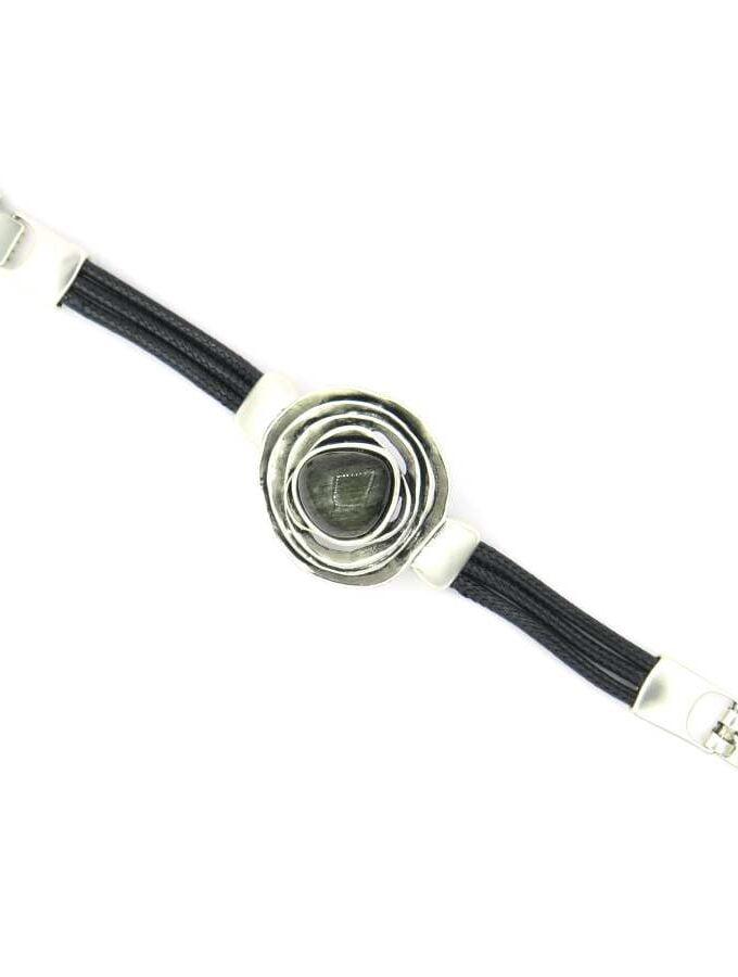 Armband zilver zwarte steen