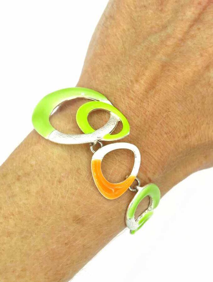 groen en oranje armband zilver