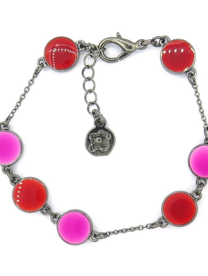 Armband roze en rode cirkels