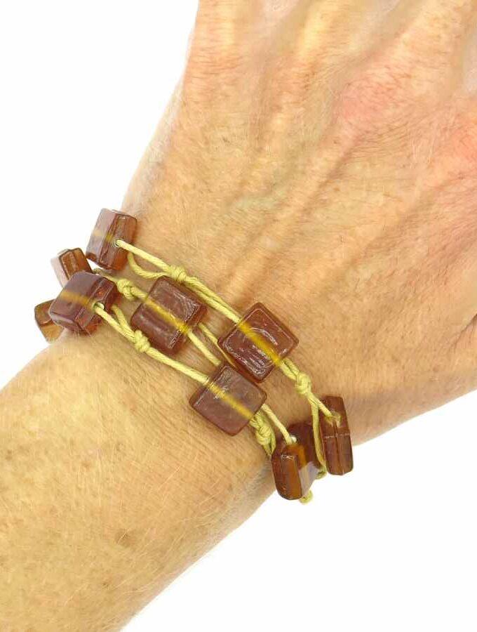 Armband glazen bruine kralen